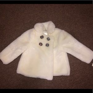 Little me baby girls fur jacket new size 24 month